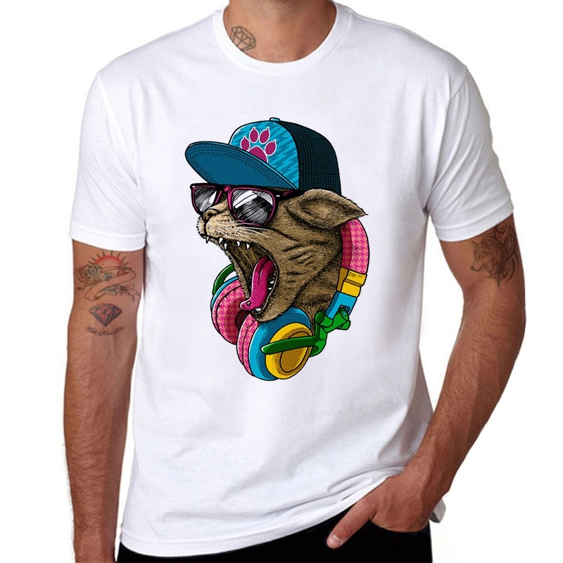 Crazy dj cat design men 39 s cotton t shirt store nederland for Crazy t shirt designs