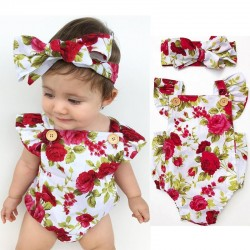 Floral baby girl jumpsuit & headband - cotton set - 2 pieces
