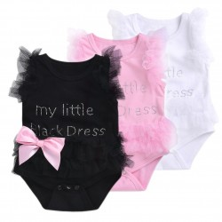 Elegant baby bodysuit with mesh for girl