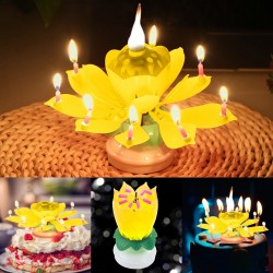 Lotusförmige drehbare Geburtstagskerze mit 8 kleinen Kerzen & Happy Birthday Lied