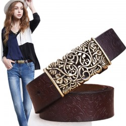 genuine cowskin leather belts for women - carved design retro metal women strap cintos ceinture