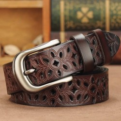 Carved genuine leather belt with a metal buckle