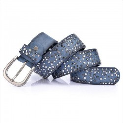 Leather belt with metal buckle & rivets