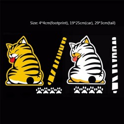 Cat moving tail & paws - 3D car sticker for rear windshield window wiper