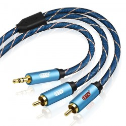 EMK RCA Cable 2RCA to 35 Audio Cable RCA 35mm Jack RCA AUX Cable for DJ Amplifiers Subwoofer Audio