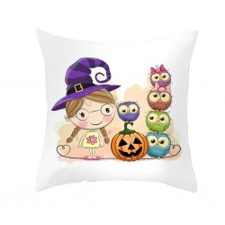 halloween owl soft fabric throw pillow cover - decor sofa - office - library cushion case - square washable pillowcases