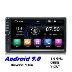 2 Din Bluetooth Android 9 Autoradio - WiFi - USB - GPS-Navigation - Mirrorlink - MP3 MP5
