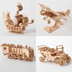 Laser Cutting Sailing Ship Biplane Steam Locomotive Toys 3D Wooden Puzzle Assembly Wood Kits Desk De
