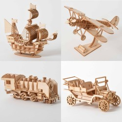 Sailing ship - biplane - steam locomotive - car - 3D wooden puzzle - assembly kit - laser cutting