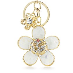 Daisy flower with pearl and crystal - keyring