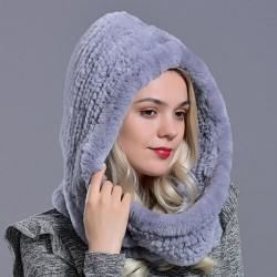 Rabbit fur hood Volume hats for women winter warm novelty knitted fur scarf hat stylish fashionable