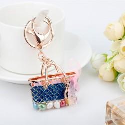 Crystal bag - gold keychain