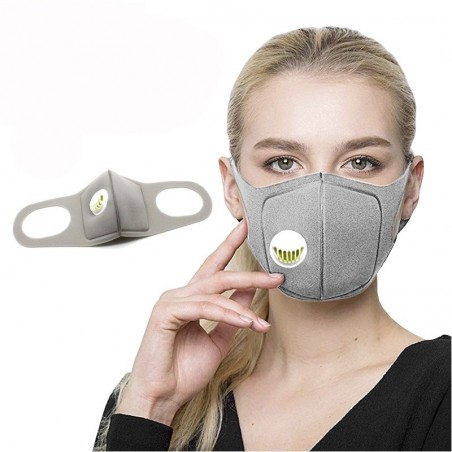 Sponge mouth / face mask - with air valve - anti-dust / anti-pollution - 2 pieces