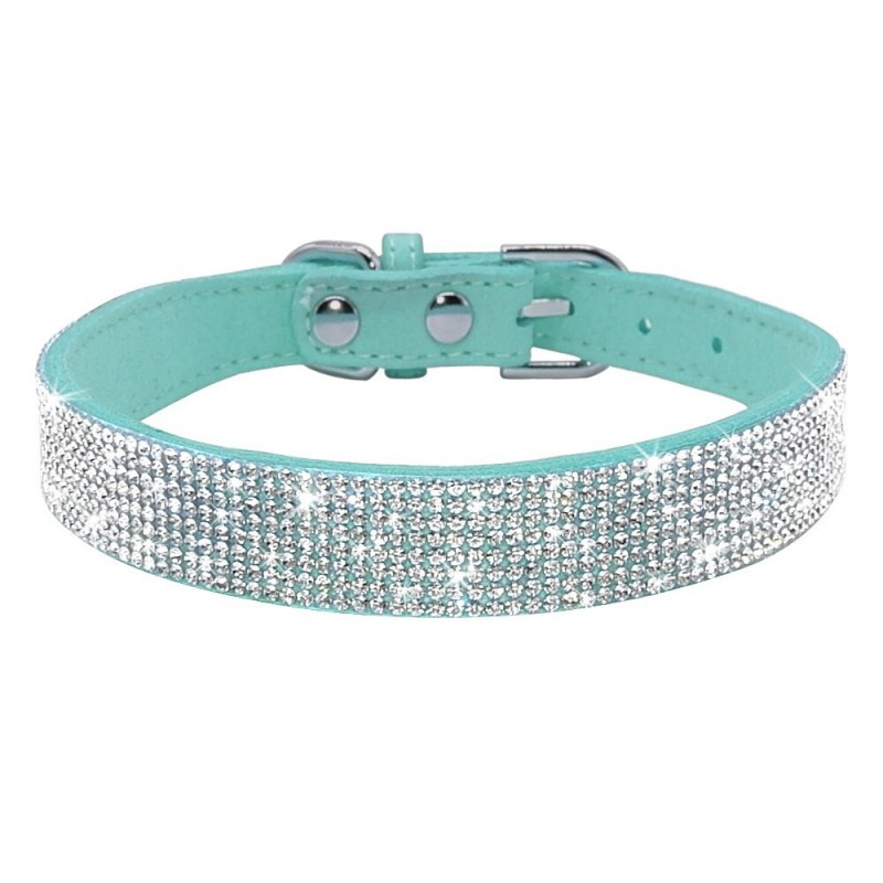 Leather collar with rhinestones for dogs and cats