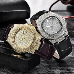 iced out diamond watch - quartz gold hip hop watches with micropave cz stainless steel watch clock relogio