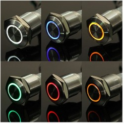 12V - 16mm LED ring stainless steel car switch self-lock