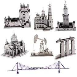 3D metal puzzle building model sets - diy laser cut puzzles jigsaw model educational toys for adult children kids