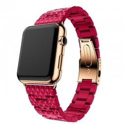 resin strap for apple watch band link bracelet watchband for iwatch - 4/3/2 iwatch bands rose red steel buckle