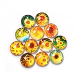 QIYUE Kitchen Fridge Sticker Round Glass Sunflower Pattern Fridge Magnet Modern Home Decoration Souv