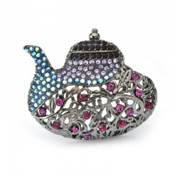 vintage teapot brooches - women rhinestone party banquet gun brooch pins gifts