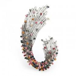 Wulibaby Multicolor Rhinestone Geometric shape Brooches Women Weddings Brooch Pins Gifts
