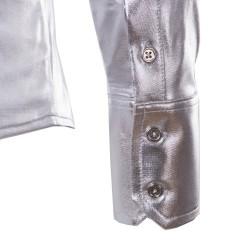 purple coated metallic night club wear shirt - men long sleeve button down mens dress shirt shiny elastic chemise homme
