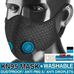 PM25 active carbon face/mouth mask - kn-95 filter - dust mask - windproof - double air valve