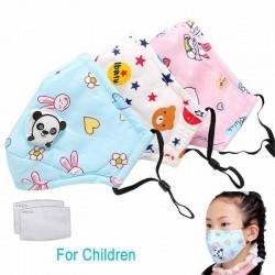 PM25 gezichtsmasker met actieve koolstof filter met luchtklep - mondkapje voor kinderen - incl. extra filters