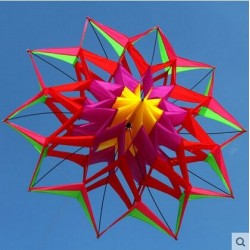 3D flower shape kite with handle and line - 150 cm diameter