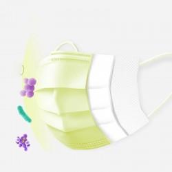Einweg-Gesichts- / Mundmasken - 3 Schichten - Staubschutz - antibakteriell - Premiumgelb