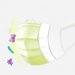 Wegwerp gezichtsmaskers / mondmaskers - 3-laags - antistof - antibacterieel - premium geel