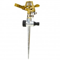 360 degree rotating garden water sprinkler - durable adjustable sprayer - incl. metal stand