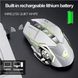 Wireless optical gaming mouse - rechargeable - silent - LED backlit - ergonomic