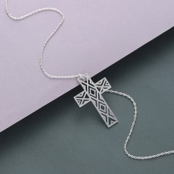 Hollow Cross Necklace - Stainless Steel