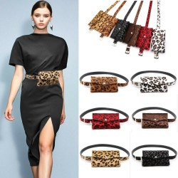 Fashionable waist belt - small bag with leopard print