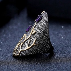 Vintage purple zircon - gold tree - ring