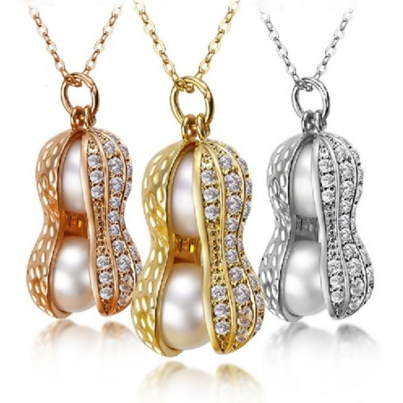 Pearl Peanut Necklace - Gold/Silver/Rose Gold