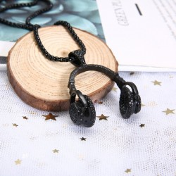 Necklace with headphones - black - gold - silver