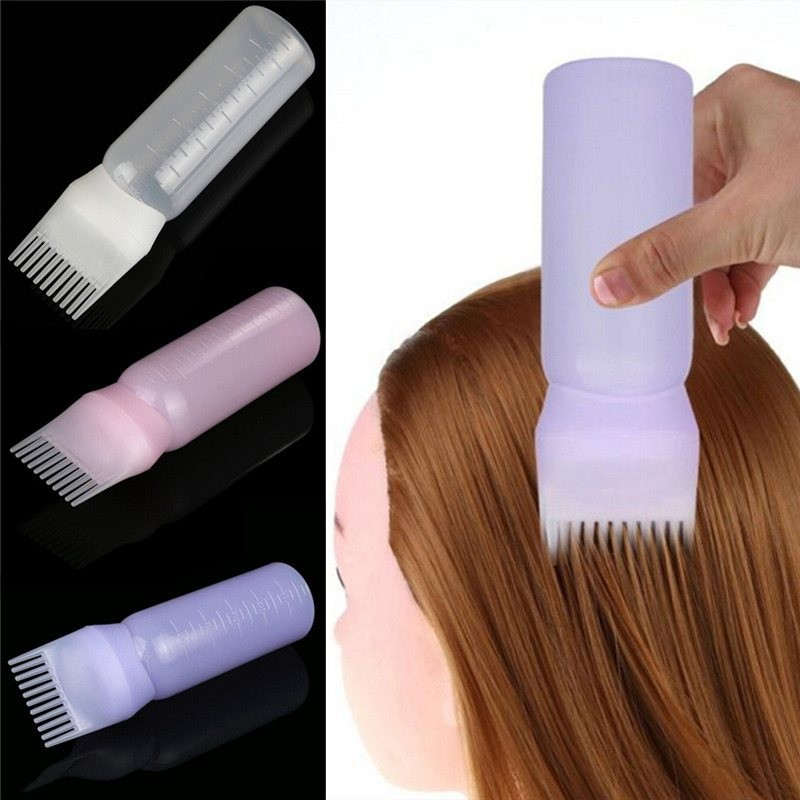 Empty bottle with brush for hair dye - container 120ml