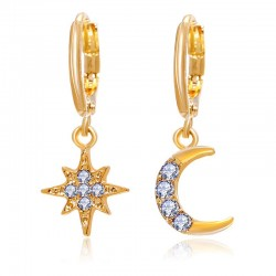 Crystal star & moon - gold earrings