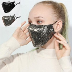Modische Gesichts- / Mundmaske aus Baumwolle mit Pailletten - umweltfreundlich - atmungsaktiv - Schutz