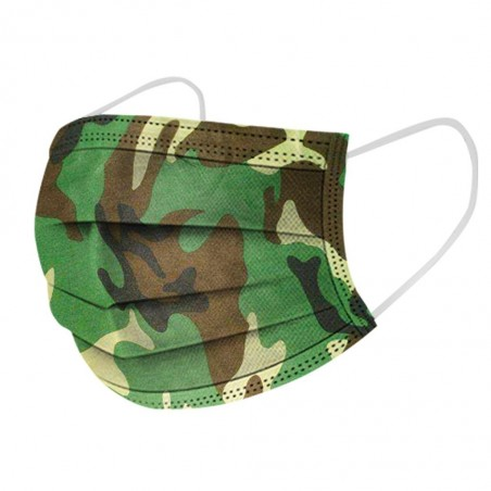 Disposable antibacterial medical face mask - mouth mask - 3-layer - camouflage