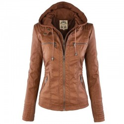 Winter leather jacket - removable inner lining with hood - waterproof - plus size