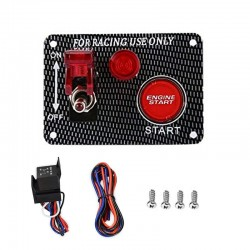 Ignition switch panel for racing car - engine start push button - toggle switch - 12V LED - QT313