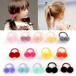 12 - 14 pieces - small double fur ball with elastic rope - kids hair band