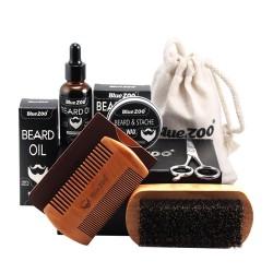 Oil - wax - comb - scissors - beard grooming set - 7 pieces