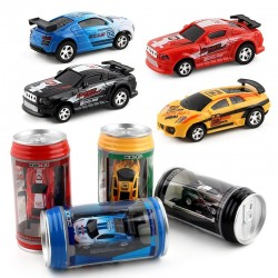 Remote control micro racing car - soda can - multi color