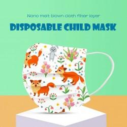 50 - 100 stuks - wegwerp antibacterieel medisch gezichtsmasker - mondmasker - 3-laags - voor kinderen - dieren print