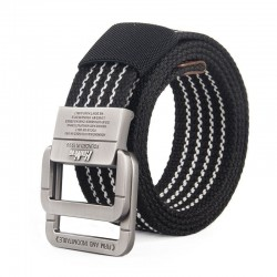 Fashionable canvas belt with double alloy buckle - striped