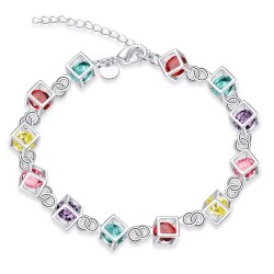 Multi-colored cubes bracelet - 925 sterling silver